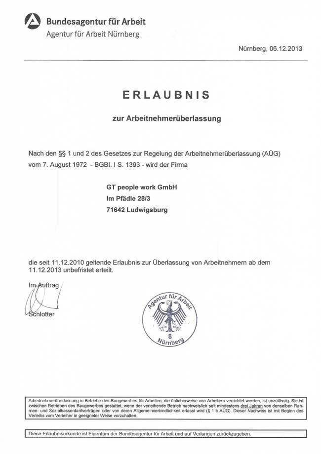 Vorschau-AÜ-Erlaubnis GTPW unbefristet BA Nürnberg 12-2013