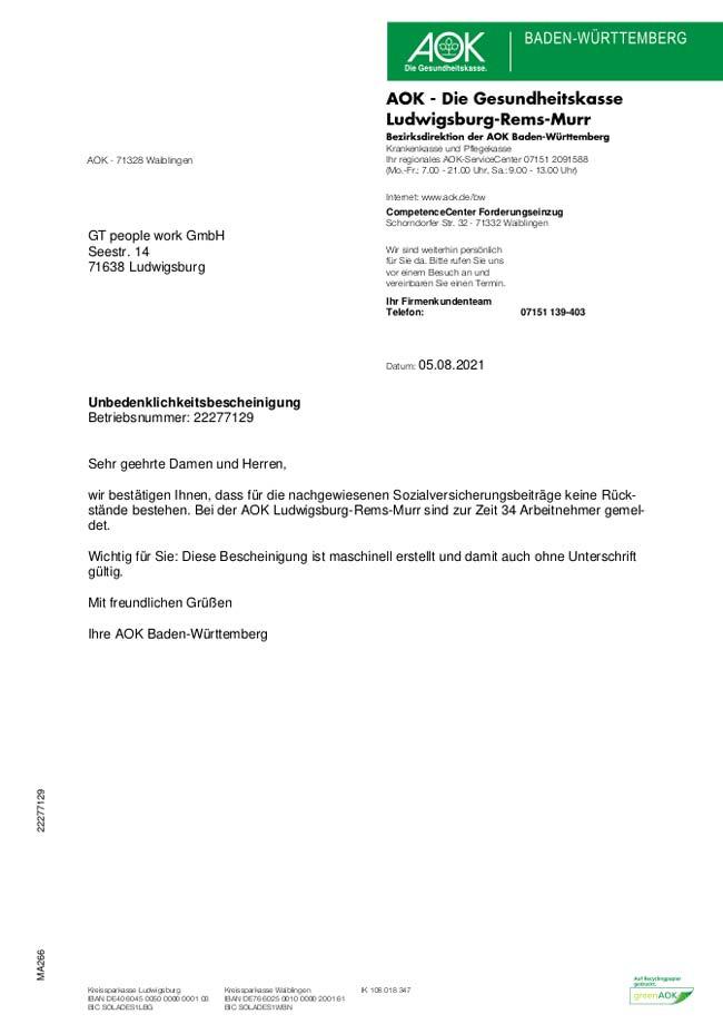 Vorschau-Unbedenklichkeitsbescheinigung AOK 08-2021