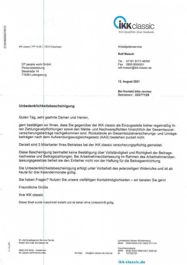 Vorschau-Unbedenklichkeitsbescheinigung IKK 08-2021