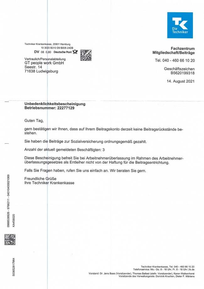 Vorschau-Unbedenklichkeitsbescheinigung TKK 08-2021