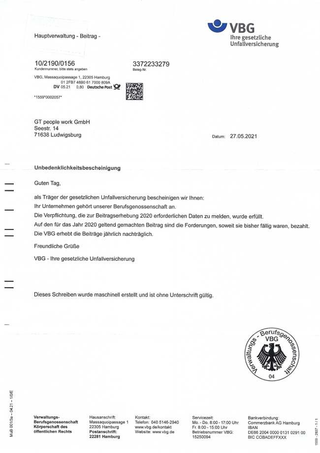 Vorschau-Unbedenklichkeitsbescheinigung VBG 05-2021 (2020)